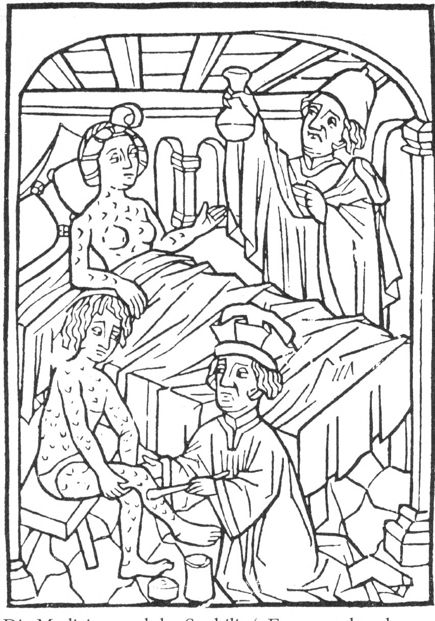 Woodcut of syphilis patients