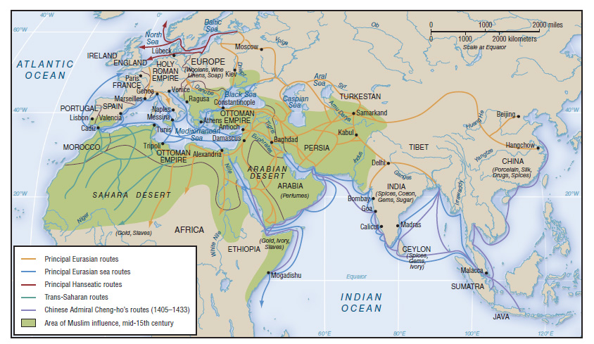 Map of Trade Routes in the 15th Century