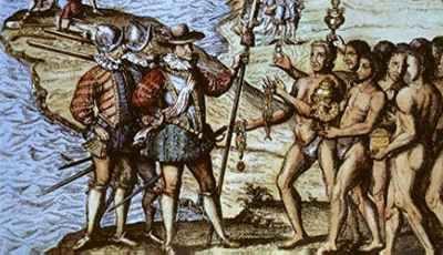 Theodor de Bry, Engraving of Columbus' landing
